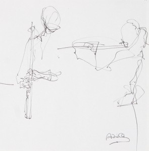 Image of Biro Drawing of Epsie Thompson, Flautist